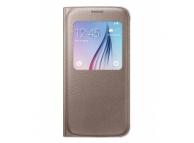 Husa piele Samsung Galaxy S6 S-View EF-CG920PF aurie Blister Originala