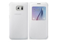 Husa piele Samsung Galaxy S6 S-View EF-CG920PW alba Blister Originala