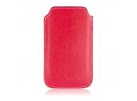 Husa piele Nokia 206 Costra S rosie alba
